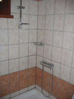 shower with sliding pole and thermostatic tap.
